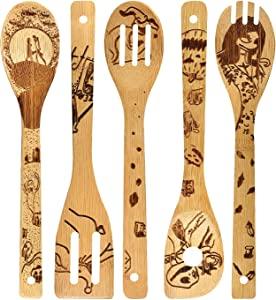 Nightmare Wooden Spoons Set House Warming Presents Slotted Spoon Slotted Spoons Bamboo Utensil Sets
