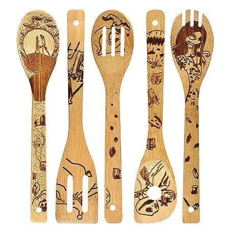 Amazon.com: Cuchara de bambú de madera quemada con patrón de ...