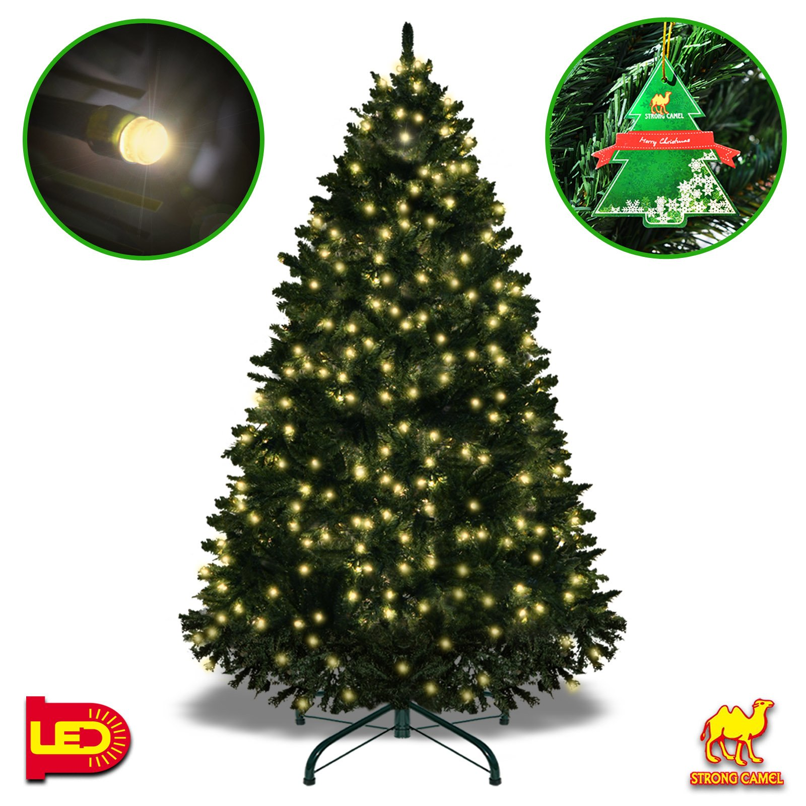 Strong Camel 6.5' Tall Artificial Fir Christmas Tree Full Spruce With Metal Base (6.5' with 650 LED lights and 1880 tips)