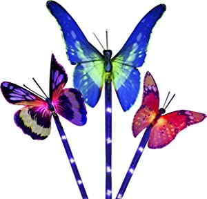 Light town Solar Garden Lights Outdoor - 3 Pack Solar Stake Lights Multi-Color Changing LED Garden Lights, Decorative Lights for Path, Yard, Lawn, Patio (Butterfly Solar Garden Light)