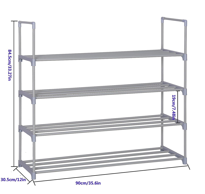 Home-Like 4-Tier Shoe Rack Personalizado y DIY Shoe Torre Organizador Almacenamiento de metal Rack color gris 90,4 x 30,5 x 84,5 cm