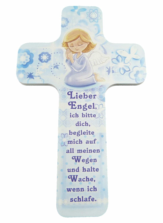 """Kinderkreuz / Taufkreuz für Jungen (hellblau) und Mädchen (rosa) als ideales Taufgeschenk, Konfirmation, Kommunion, Firmung, Jugendweihe mit """"Lieber Engel begleite mich …"""" im Kinderzimmer an Schrank, Tür oder Wand aufhängen - aus unserer Reihe Kinderkreuze"""