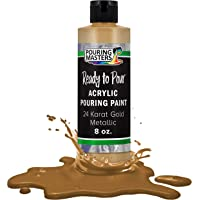 Pouring Masters 24 Karat Gold Metallic Acrylic Ready to Pour Pouring Paint – Premium 8-Ounce Pre-Mixed Water-Based - for…