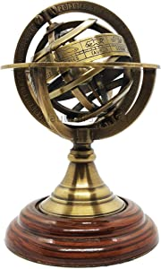 Brass Finish Armillary Sphere Globe - Nautical Astrolabe Garden Armillary Zodiac Sphere Globe – Nautical Home Decor   Nautical's Select (Antique, 9