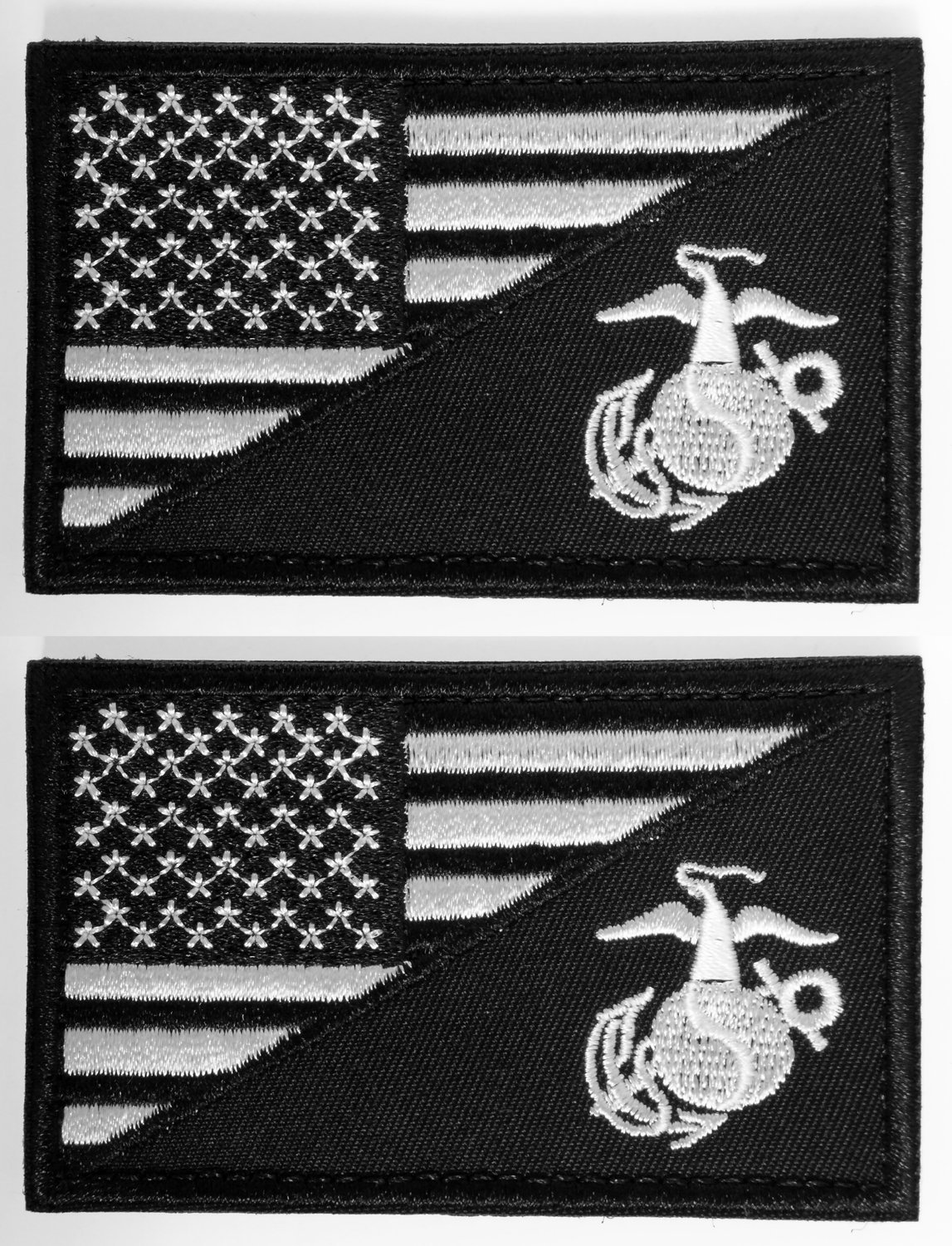 WZT Bundle 2 pieces American USA Flag Marine Corps Usmc Black Ops White Tactical Morale Patch