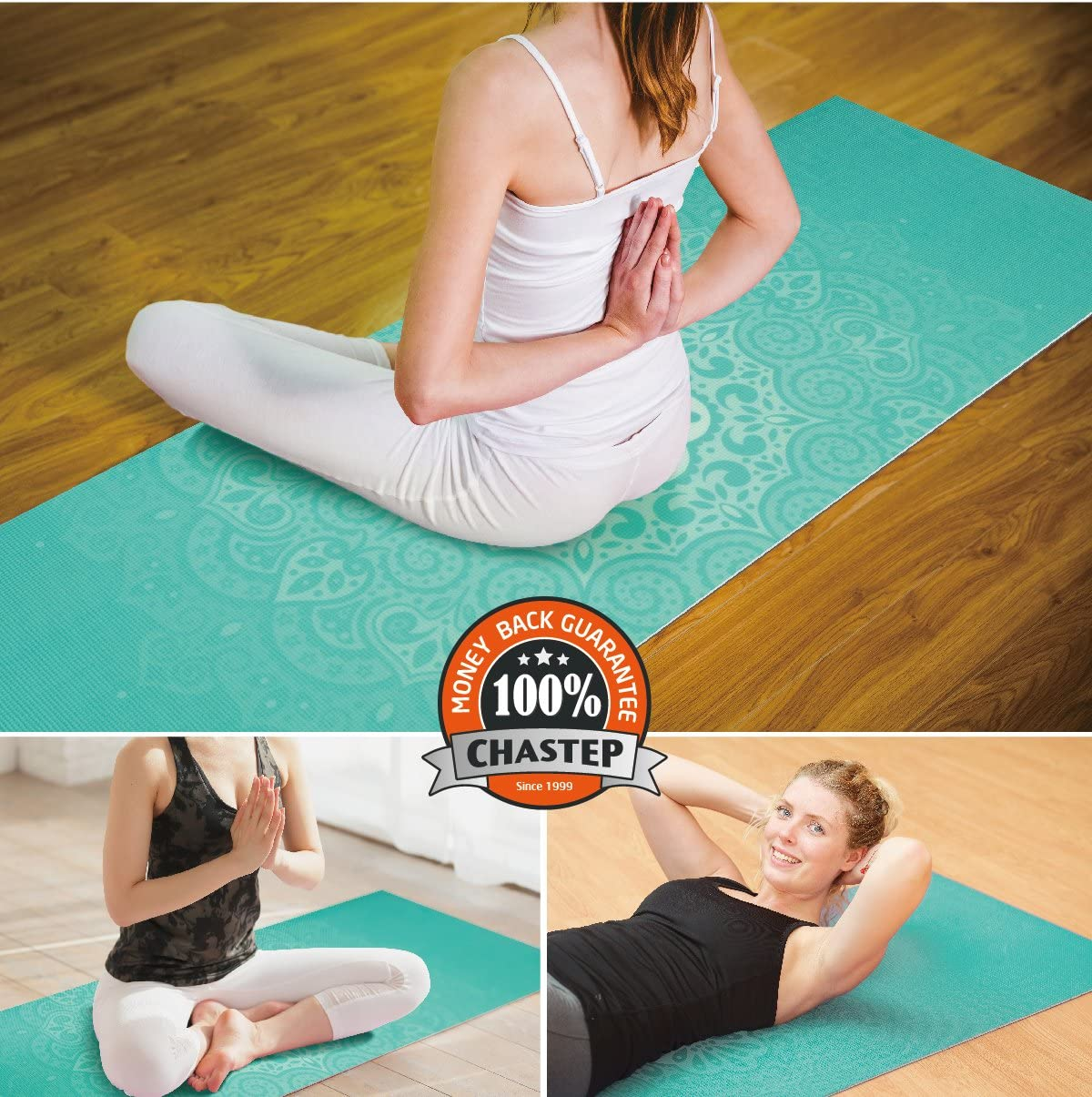 Anti-Tear Extra Thick Pilates Mat with Carrying Bag Chastep Yoga Mat Non-Toxic Reversible Print Exercise /& Fitness Mat /¼ Inch
