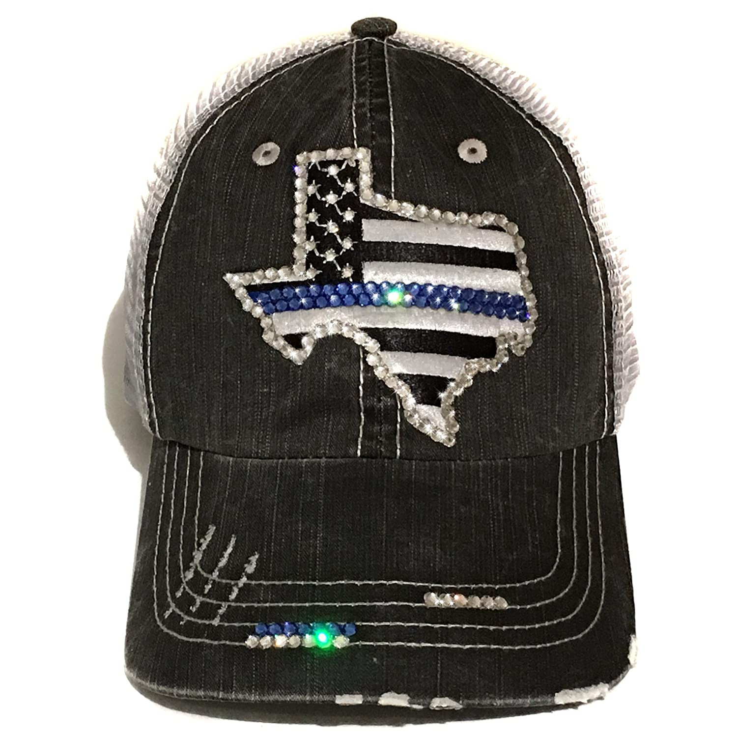 63ce5f0da37 Elivata Womens Texas Thin Blue Line Fitted Baseball Cap Swarovski Crystals  by at Amazon Women s Clothing store