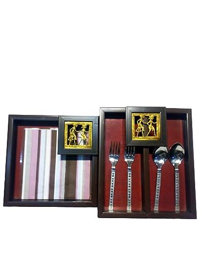 Amazon Com Indian Handicrafts Company Cutlery Case Napkin Holder