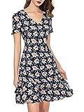 Dresms Women V Neck Short Sleeve Floral Printed Casual A-line Flare Retro Wrap Midi Dress
