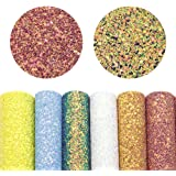 """David accessories Super Shiny Chunky Glitter Stereoscopic Sequins Faux Leather Sheets Fabric 7 Pcs 8"""" x 13"""" (20cm x 34cm…"""