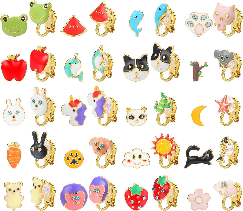 Hanpabum 20Pairs Clip On Earrings for Girls Tiny Cute Animals Clipon Earrings Pack Little Girls Earrings for Non Pierced Ears