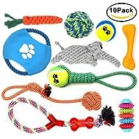 MAIKEHIGH 10 Pack Puppy Chew Dog Rope Dentición Toy Set Surtido de Regalo para Pequeño Mediano Grande Perrito