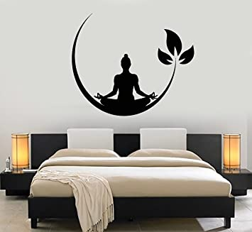 Beautiful Vinyl Wall Decal Yoga Meditation Room Buddhist Zen Stickers (ig4132) Black
