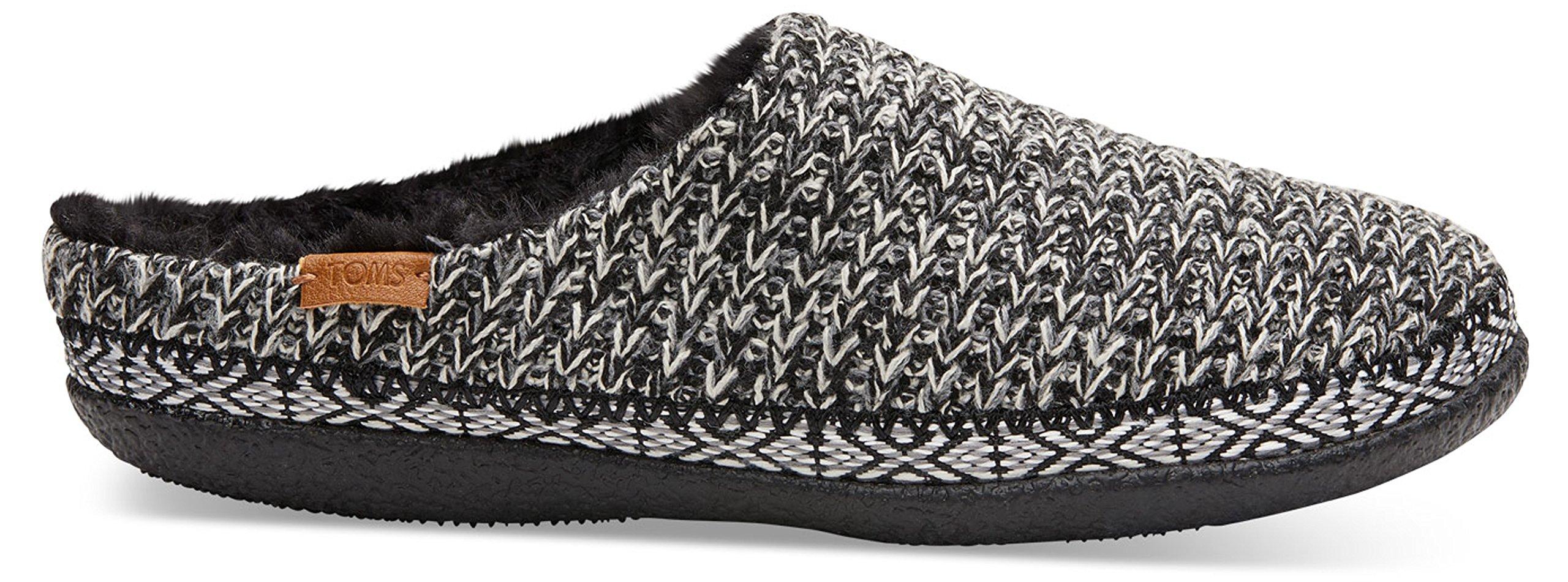 2efc2b78cf3 TOMS Women's Ivy Wool Slipper (11 B(M) US, Black and White Sweater Knit)