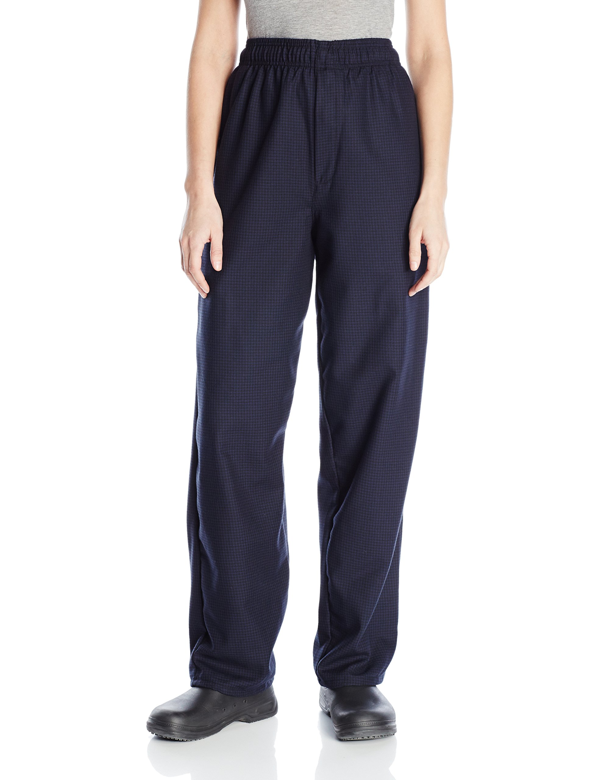Uncommon Threads Unisex Yarn Dyed Baggy Chef Pant, Black/Navy Hounds Tooth, Large