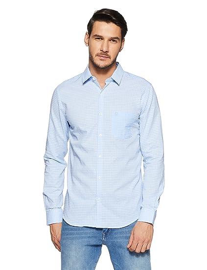 United Colors of Benetton Men s Geometric Print Slim Fit Casual Shirt   Amazon.in  Clothing   Accessories 66ec08f2b7e5