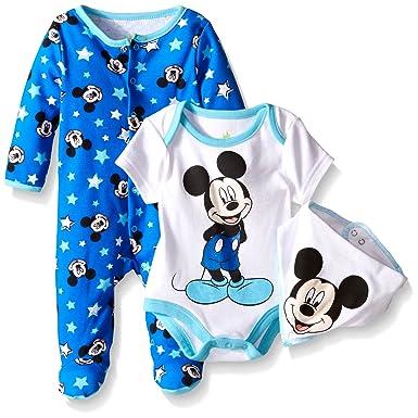e898cee175c6 Amazon.com  Disney Baby Mickey Mouse 3 Pc Footie