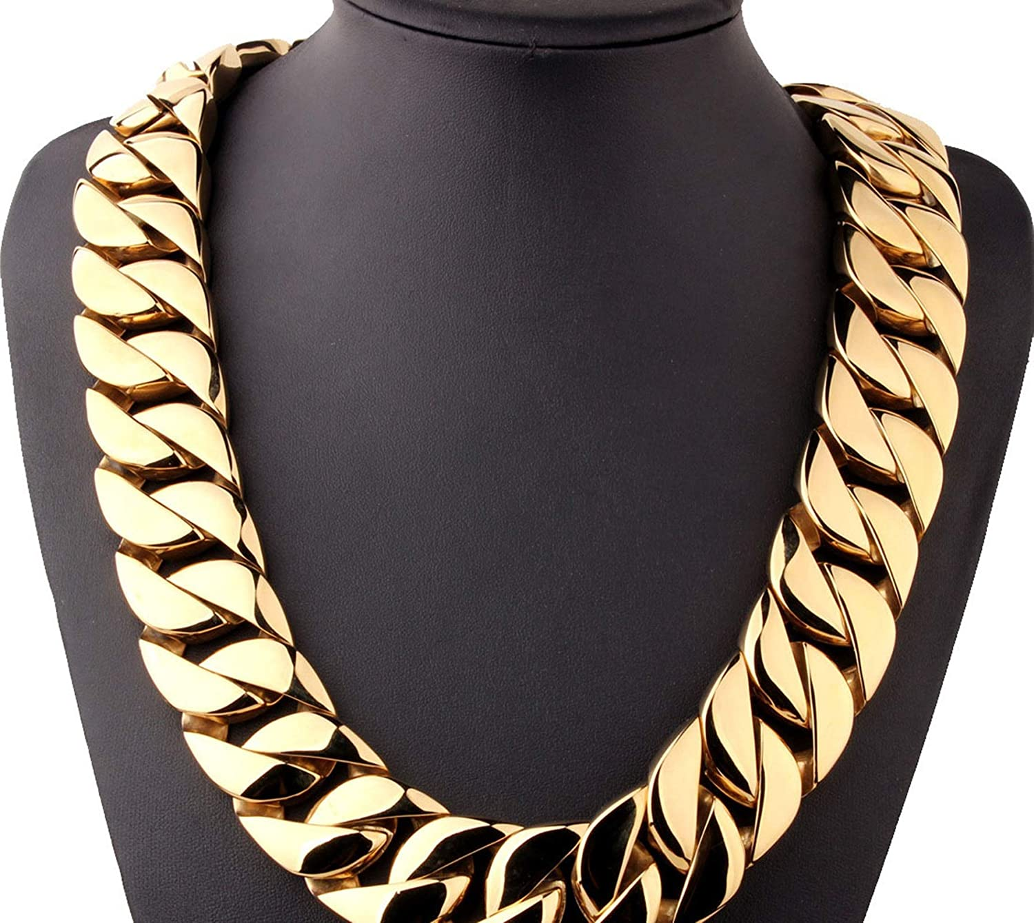 Daesar Men Necklace Stainless Steel 32MM Curb Necklace Chain Gold 71CM
