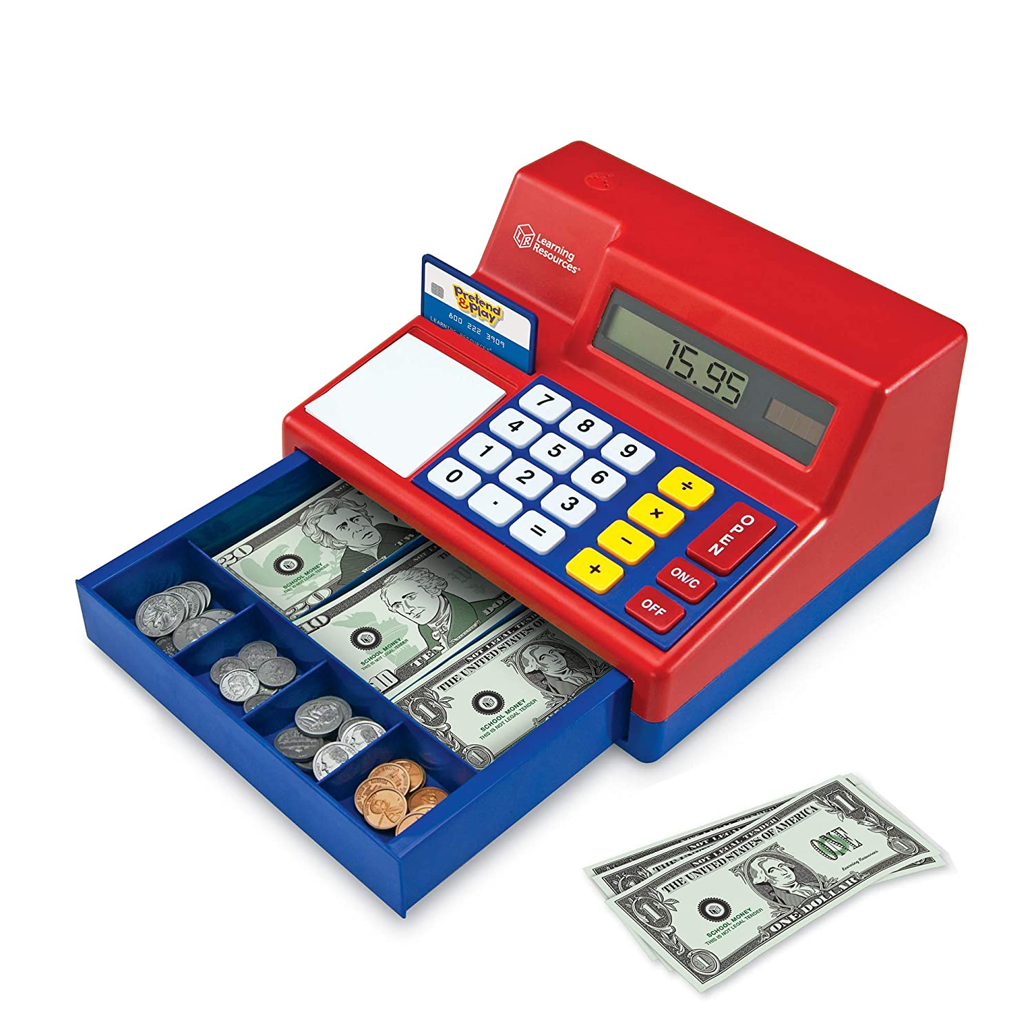 B00000DMD2 Learning Resources Pretend & Play Calculator Cash Register, Classic Counting Toy, 73 Pieces, Ages 3+ 81FfyqxWJ8L