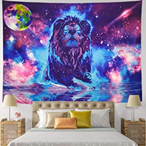 Starry Fantasy Lion Tapestry Moon Lion Wall Tapestry Psychedelic Constellation Wall Hanging Indian Hippie Colorful Leo Universe Galaxy Tapestry (XLarge-92.5