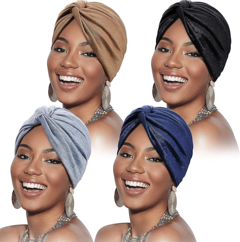 SATINIOR 4 Pieces Turbans for Women Soft Pre Tied Knot Fashion Pleated Turban Cap Beanie Headwrap Sleep Hat, 4 Colors
