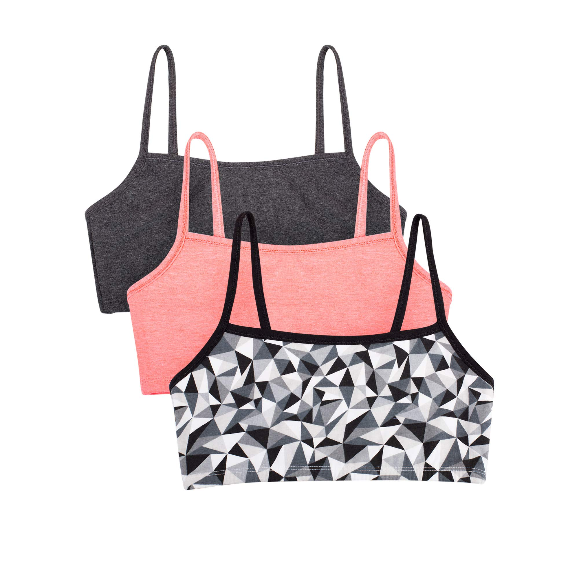 Fruit of the Loom womens Cotton Pullover Sport Bra, kaleidoscope/charcoal/punchy peach 32