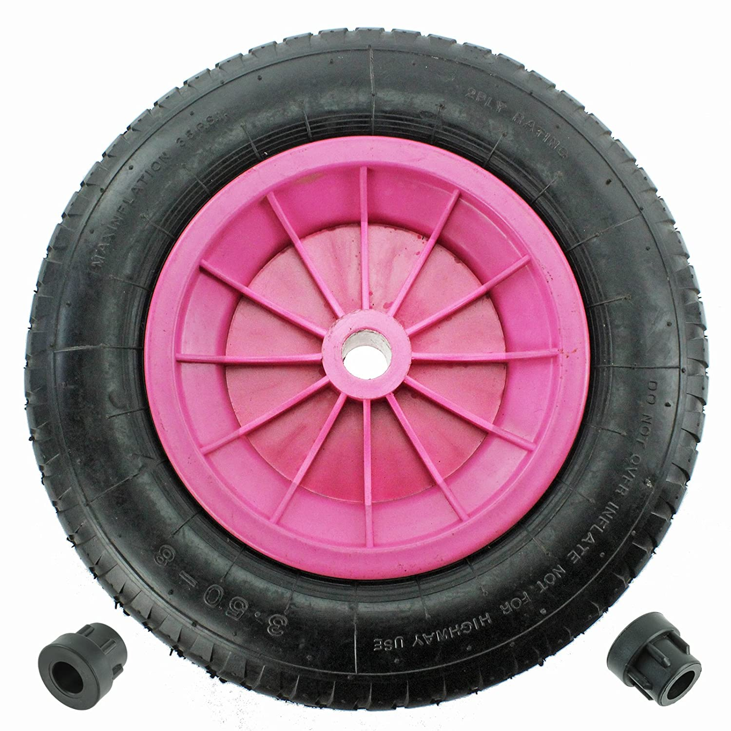 First4spares 14' 3.50 - 8 Complete Wheelbarrow Wheel, Inner Tube, Tyre & 1/2' Axle Reducer Bushes for Garden Trolley / Barrow / Go Cart / Trailer Truck (Pink) Tyre & 1/2 Axle Reducer Bushes for Garden Trolley / Barrow / Go Cart / Trailer Truck (Pink)