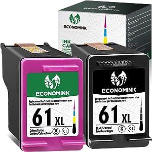 Economink Remanufactured 61 Ink Cartridge Replacement for HP 61XL 61 XL Black Color for Envy 4520 3634 OfficeJet 3830 5252 4650 5258 4655 4652 5255 DeskJet 3636 1111 3630 1112 3637 3632 , 2 Pack