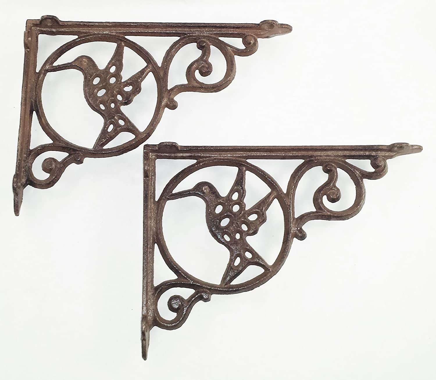 Aunt Chris' Products - [Lot/Set of 2] - Hummingbird Shelf Bracket - Cast Iron - Holes In Bird For Light To Shine Thru - All-Purpose - Rustic Dark Brown Color - Can Be Used Indoor Or Outdoor