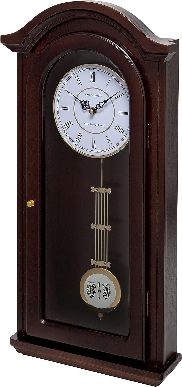 Fox and Simpson Reloj de péndulo Burnley, campanillas de Westminster, Madera de Nogal