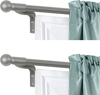 product image for Zenna Home, Brushed Nickel, Smart Measuring Easy Install Adjustable Café Window, 48 to 120 in, with Ball Finials, 2-Pack of Rods