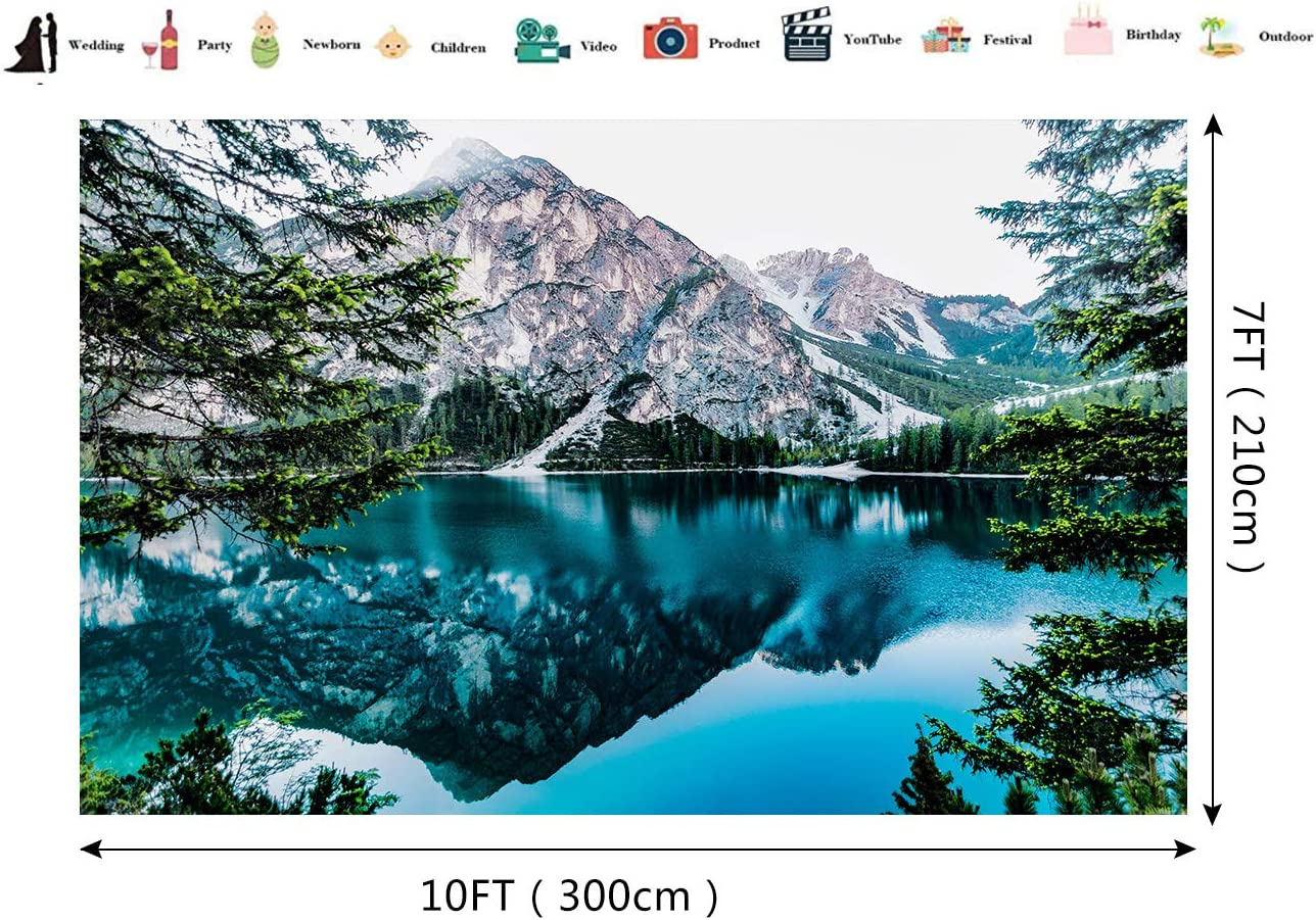 Clear Lake Mountain Forest Backdrop Blue Sky Photography Background Natural Landscape Holiday Travel Green Trees for Photo Studio Wedding Birthday Party Backdrop 10x7ft E00T9194