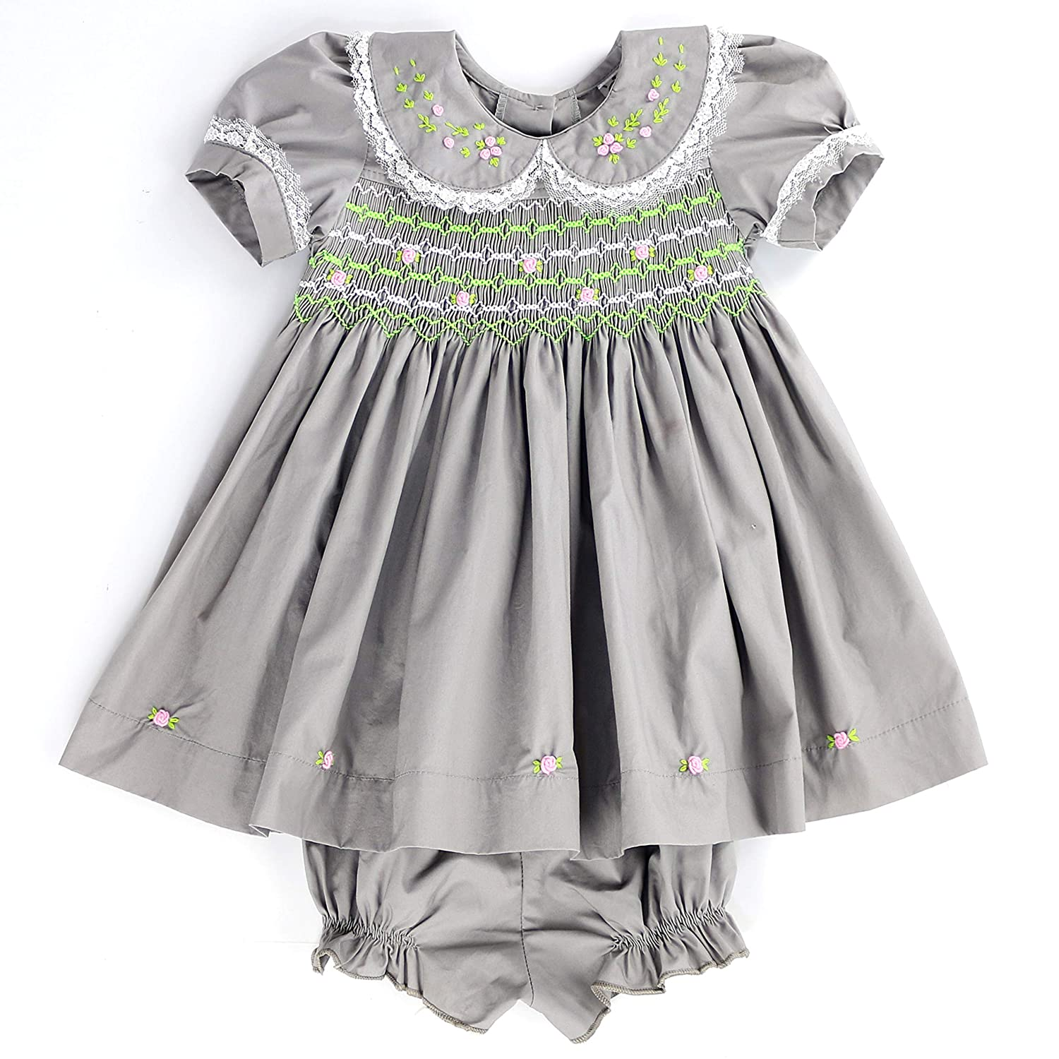 99fd3f305e77 Amazon.com: sissymini - Lace & Flower Blossom Baby Girls Heavy Cotton Hand  Smocked & Embroidered Dress: Clothing