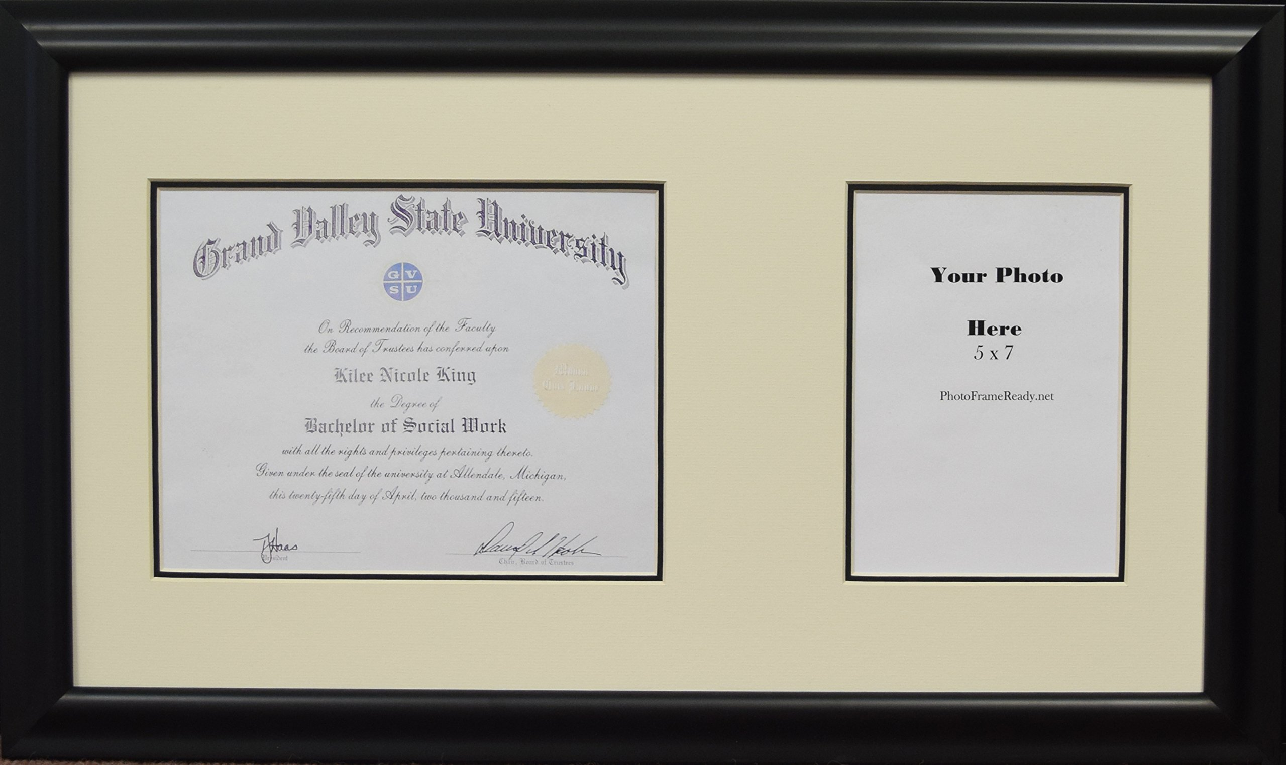 Graduation University Diploma Document Certificate Photo Frame Creme and Black Mats Holds 9x7 Certificate with 5x7 Photo Opening Black Frame