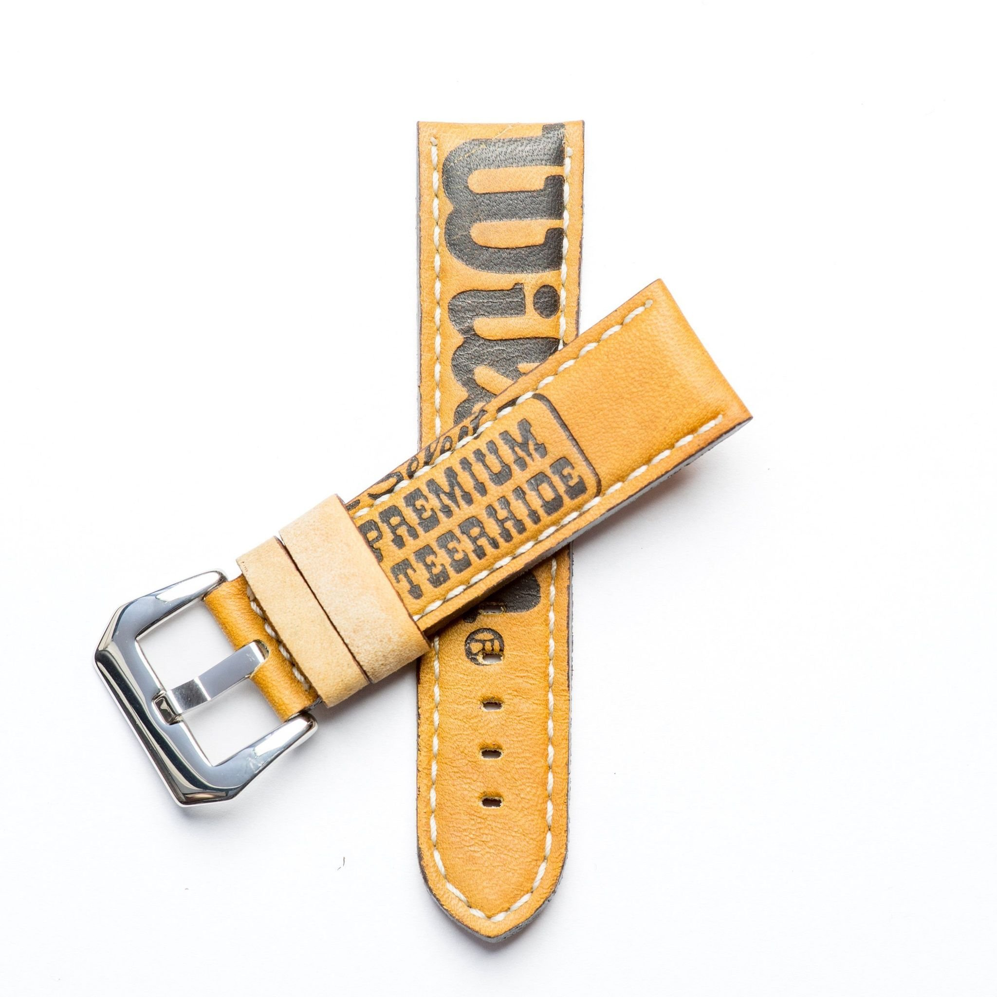 Baseball Leather Watch Strap - Limited Edition (24mm, Yellow Gold Polished) by Milano Straps (Image #1)