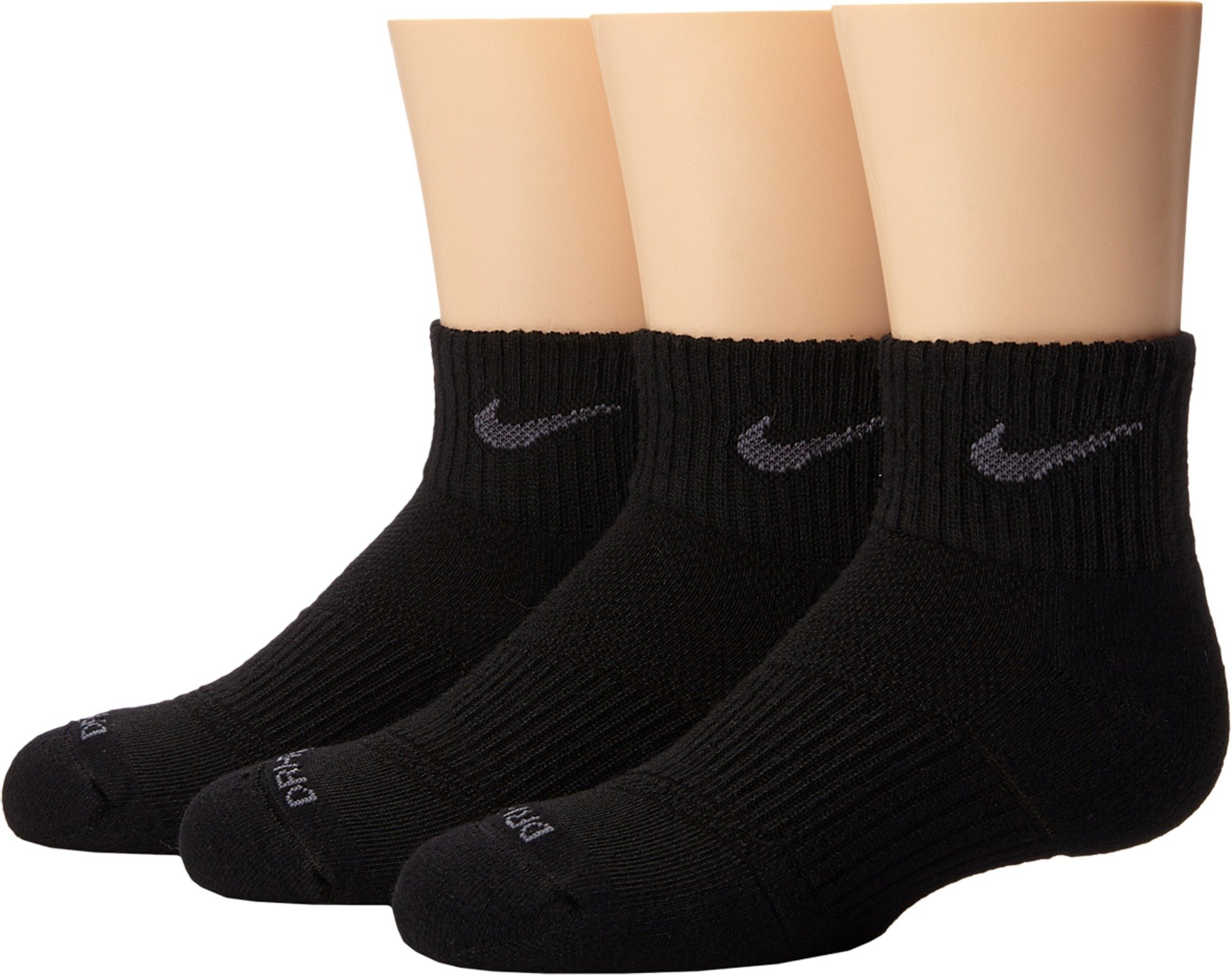 Nike Dri-FIT Cushion Quarter Athletic Training Sock 3 Pair Pack, Black, S 4-6