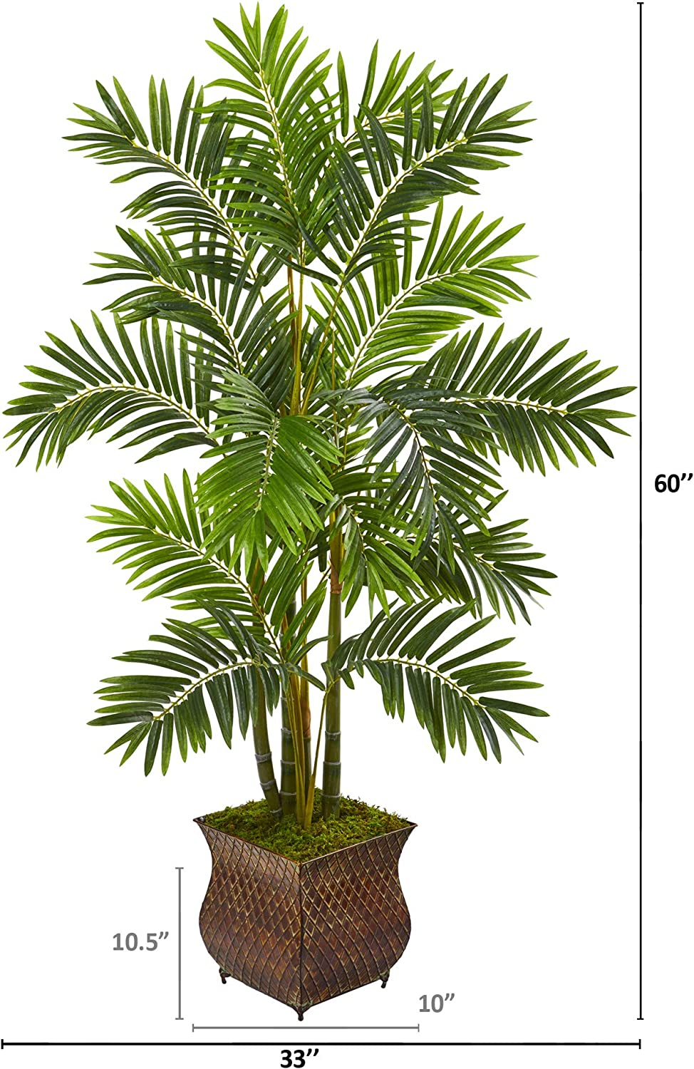 Nearly Natural 60in Areca Palm Artificial Metal Planter Silk Trees Green Furniture Decor