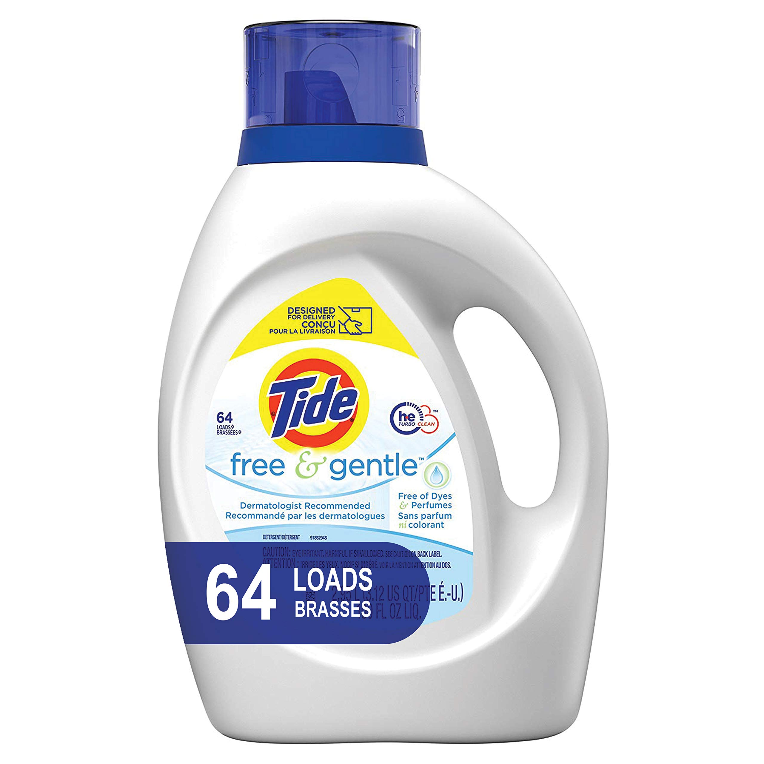 Tide Free and Gentle HE Laundry Detergent Liquid, 100 oz, 64 Loads, Unscented and Hypoallergenic for Sensitive Skin, Free and Clear of Dyes and Perfumes (Packaging May Vary) by Tide