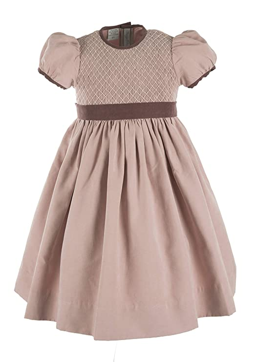 Victorian Kids Costumes & Shoes- Girls, Boys, Baby, Toddler Carriage Boutique Girls Short Sleeve Smocked Mauve Dress $56.00 AT vintagedancer.com