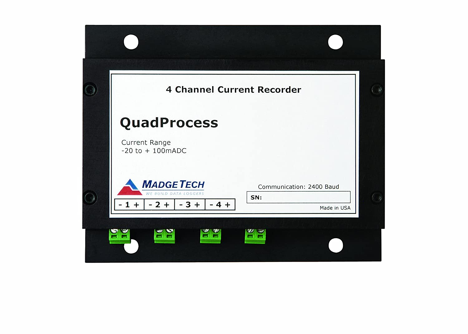 MadgeTech QuadProcess 1mA CERT Low Level DC Current Data Logger 4 Channel ± 1.5mA Measurement Range 0.05A Current Resolution with NIST Certificate