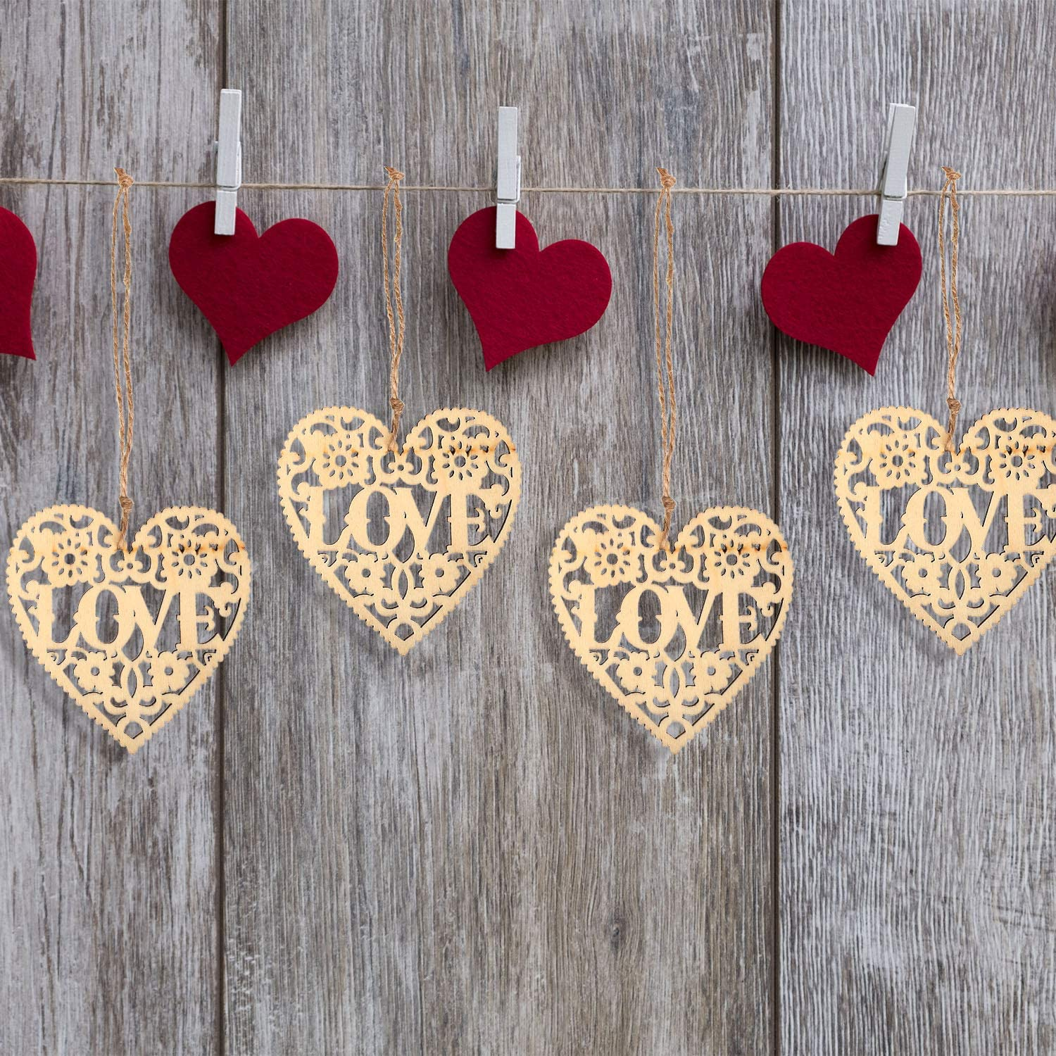 Nature Color, 60 Tatuo Heart Wooden Embellishments Wood Tags Love Heart Hanging Ornament and Twines for Valentines Day Decorations Wedding Crafts