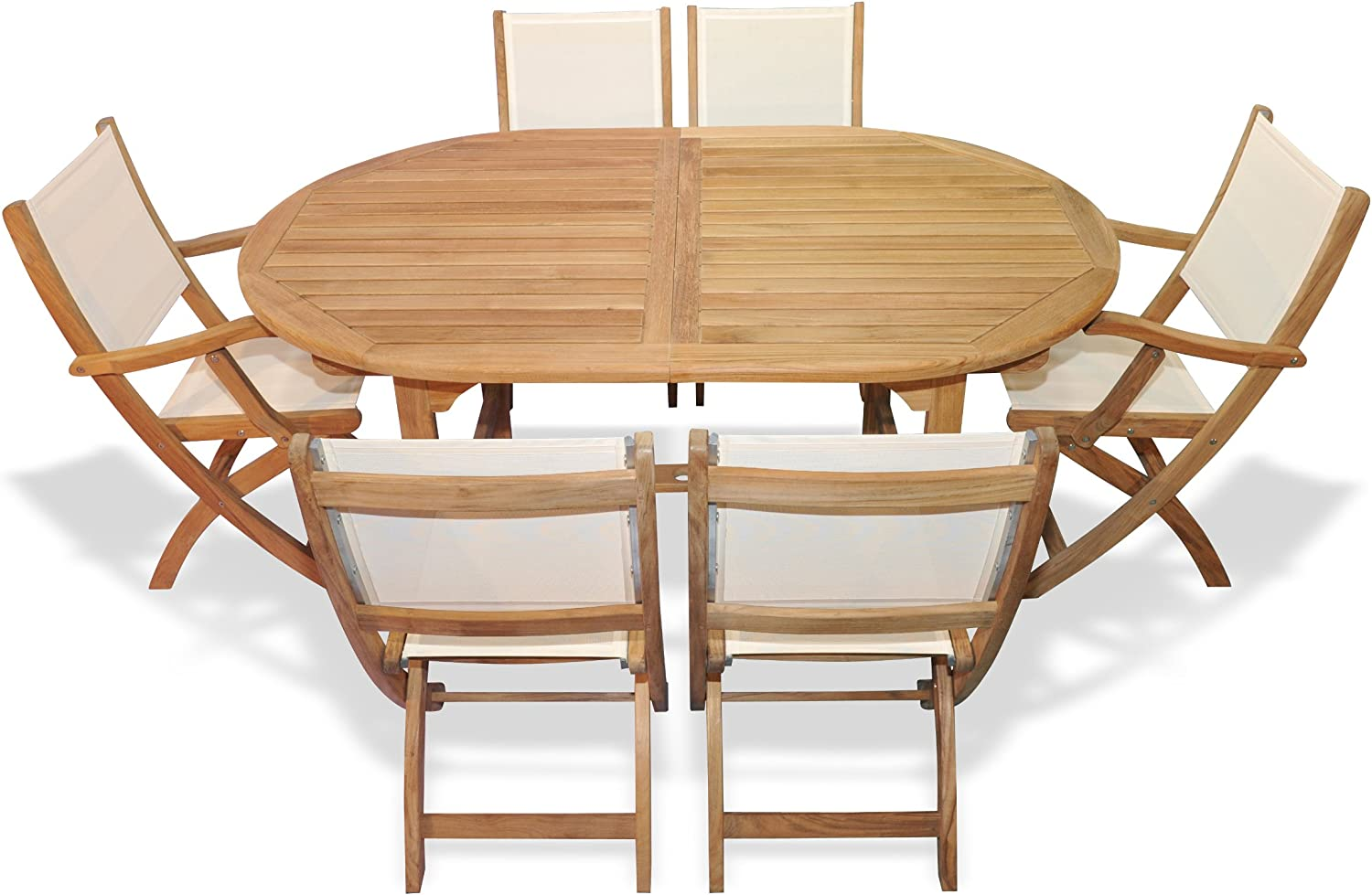 Bar Height Glass Table, Amazon Com Goldenteak Teak Outdoor Dining Set For 6 Oval Table With Teak And Sling Folding Chairs Outdoor And Patio Furniture Sets Garden Outdoor
