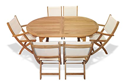 Teak Outdoor Dining Set for 6 Oval Table with Teak and Sling Folding Chairs - Amazon.com : Teak Outdoor Dining Set For 6 Oval Table With Teak And