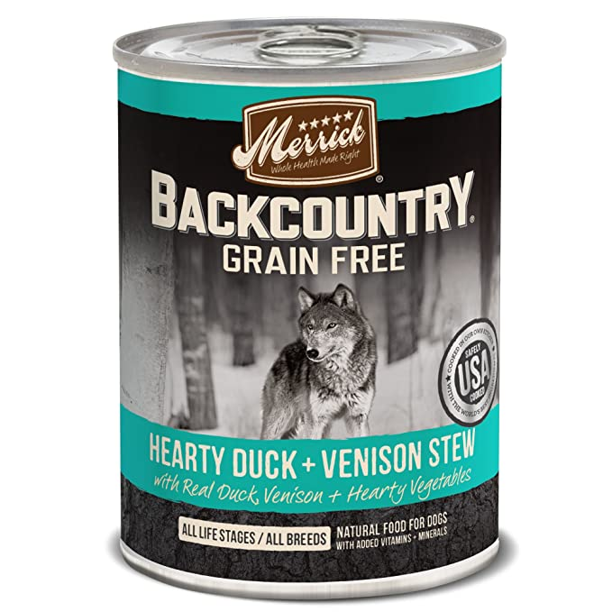 Merrick Backcountry Grain Free Wet Dog Food, 12.7 Oz, 12 Count Duck & Venison Stew
