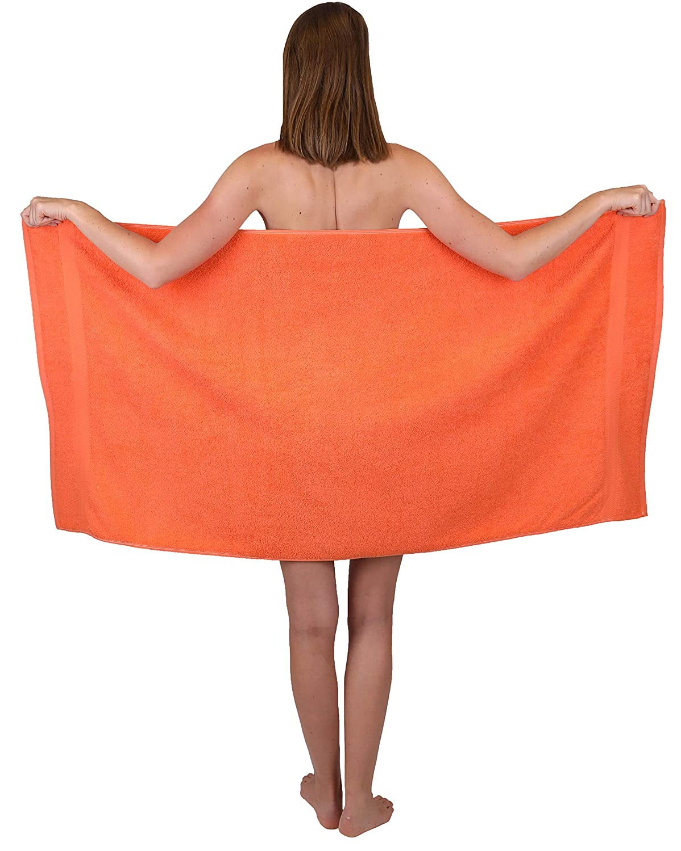 Betz Set da 12 Asciugamani Premium 100/% Cotone 2 Asciugamani da Doccia 4 Asciugamani 2 Asciugamani per Gli Ospiti 2 Lavette 2 Guanti da Bagno Colore Arancio sanguinello