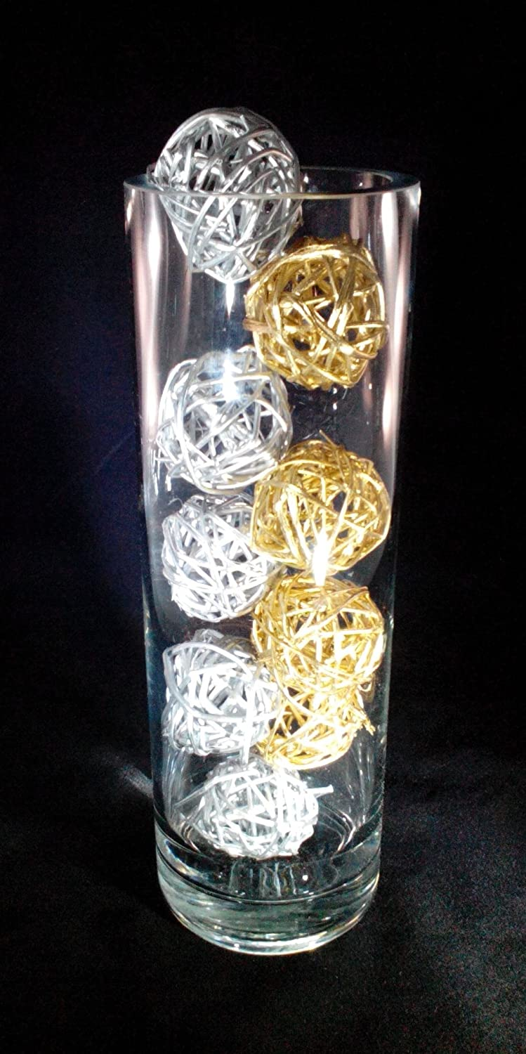 Amazon decorative spheres silver and gold rattan vase amazon decorative spheres silver and gold rattan vase filler christmas ornament decoration holiday bowl filler floridaeventfo Images