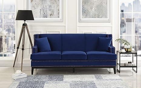 Casa Andrea Milano Classic Traditional Soft Velvet Sofa with Nailhead Trim Details Color Grey, Blue (Blue)