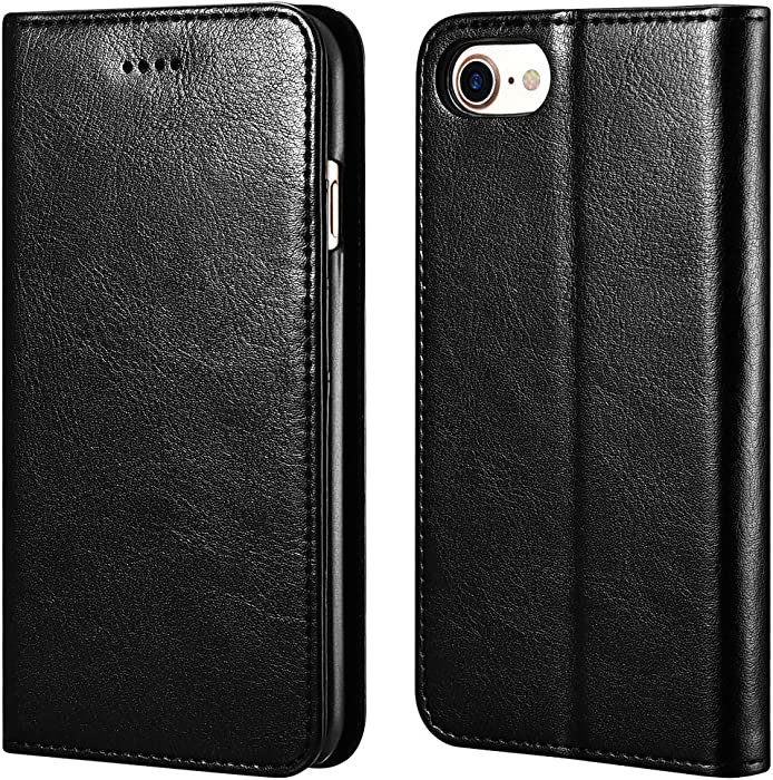 icarercase iPhone 7/8 Wallet Case, iPhone SE Case 2nd Generation Premium PU Leather Folio Flip Cover with Kickstand and Credit Slots for Apple iPhone 7/8/SE 4.7 Inch (Black)