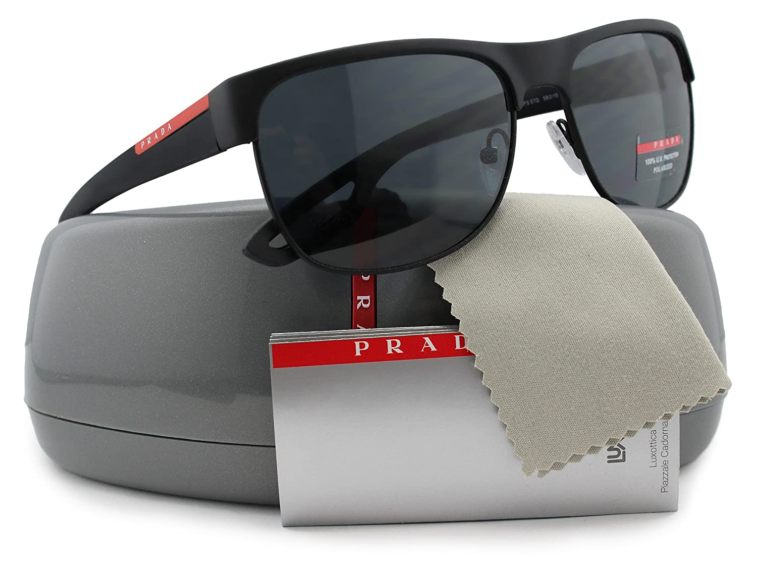 6137acd321b Prada Linea Rossa SPS57Q LJ Silver Polarized Sunglasses Black Rubber w  Crystal Grey (DG0-5Z1) PS 57QS DG05Z1 58mm Authentic  Amazon.co.uk  Clothing