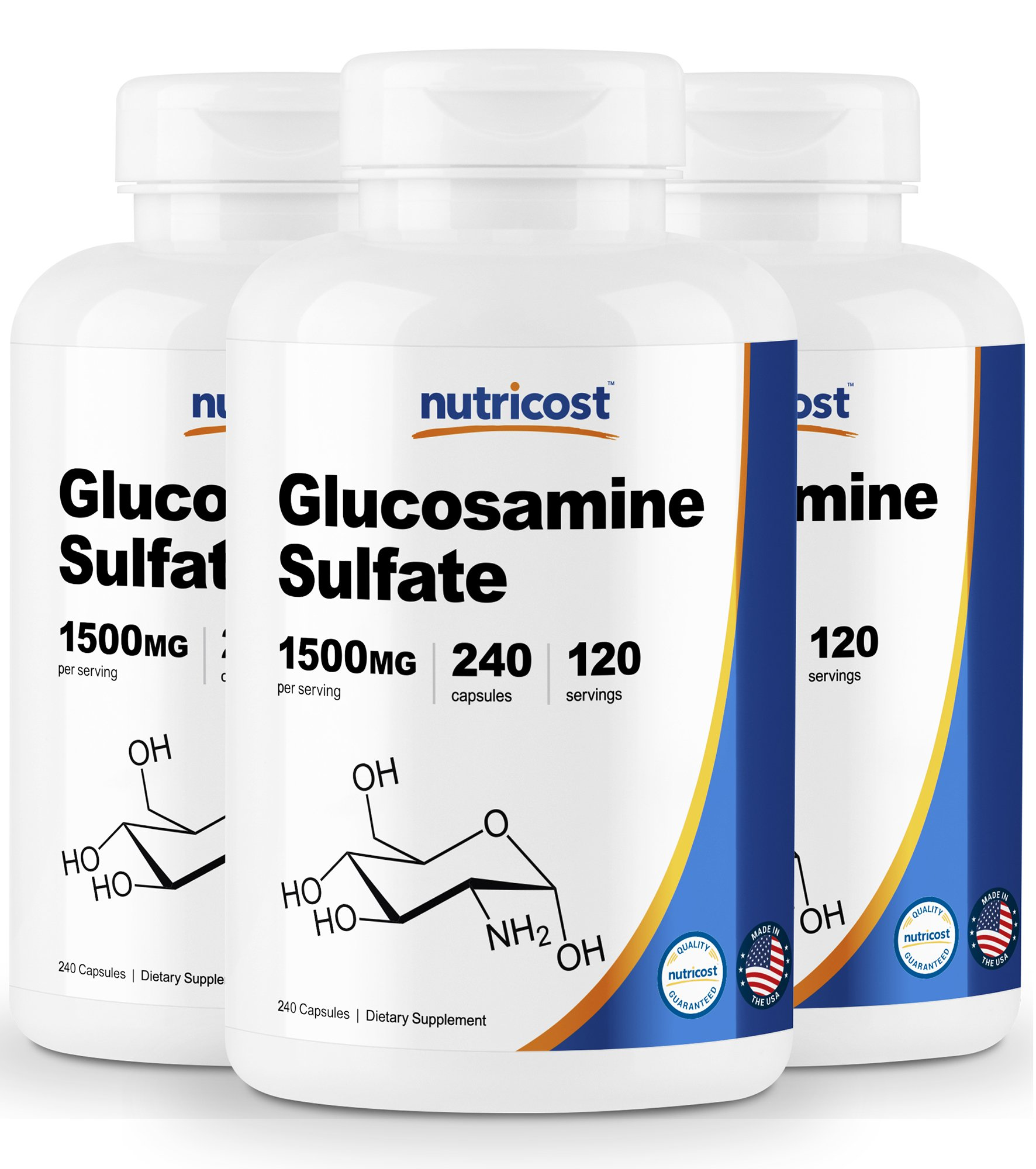 Nutricost Glucosamine Sulfate 750mg, 240 Capsules (3 Bottles) (1500mg per Serving) by Nutricost